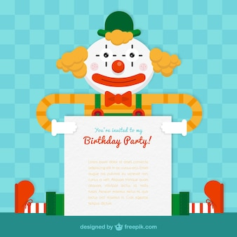 Birthday party card with a clown