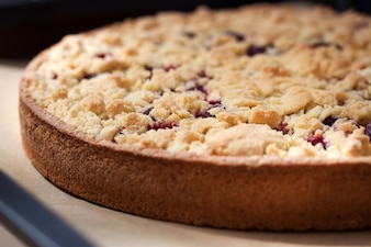Biscuit cake with cherries