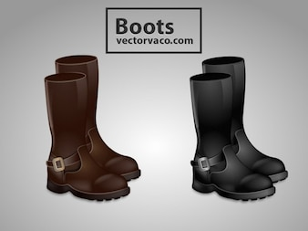 Black & Brown Boots Shoes
