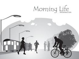 Black & white morning life in city