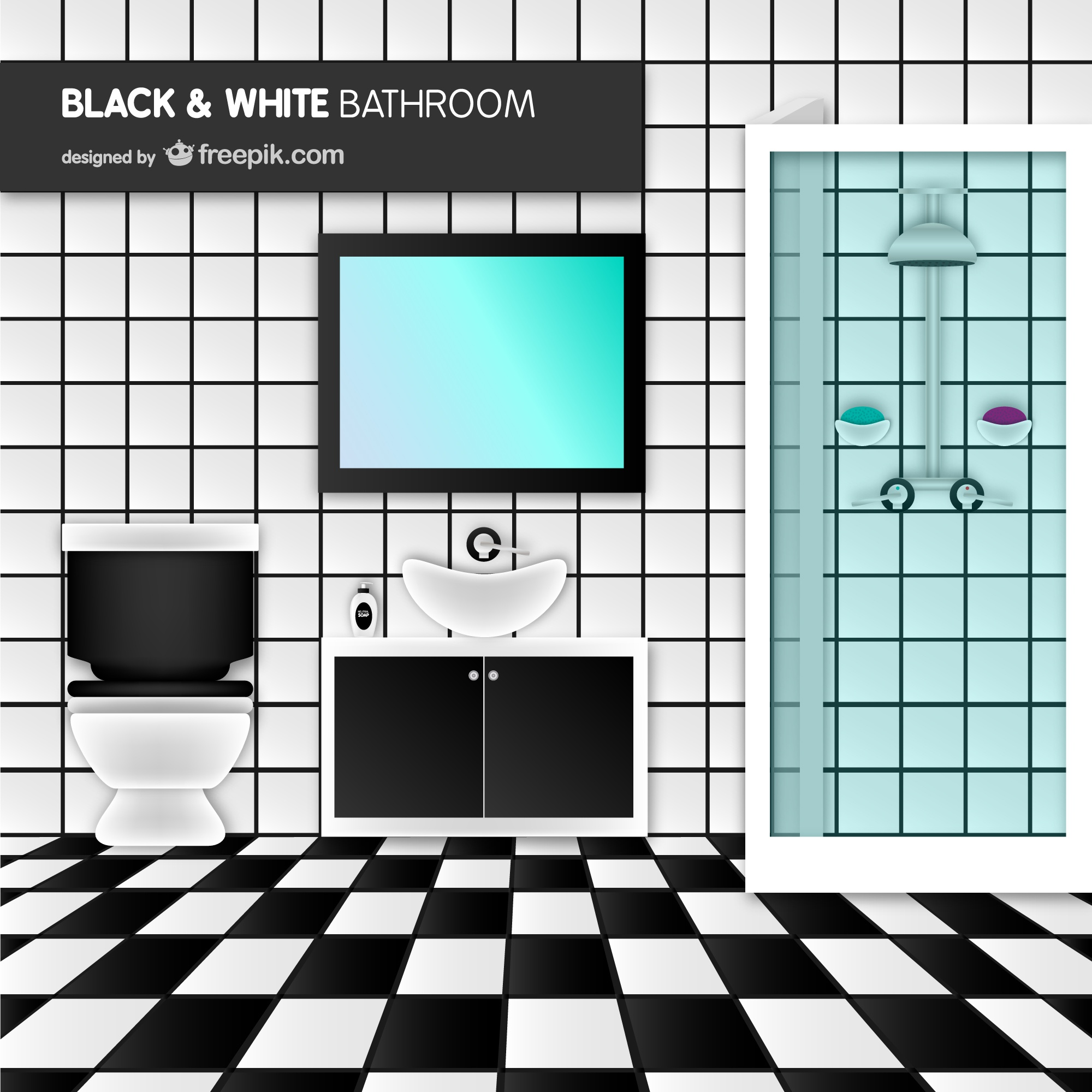 Black and white bathroom vector