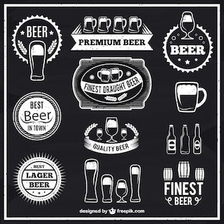 Black and white beer labels