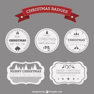 Black and white Christmas badges