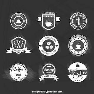 Black and white coffee badges