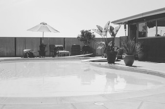 Black and white swimming pool