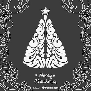 Black and white vintage Christmas card
