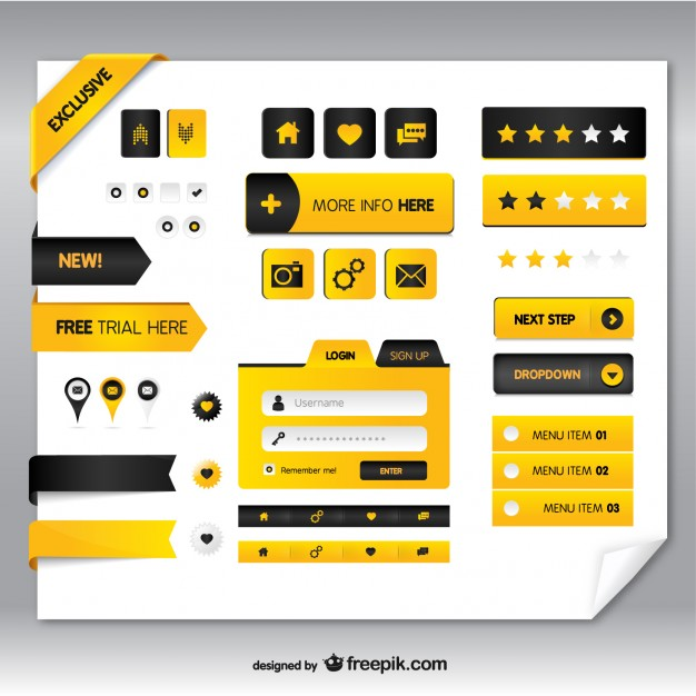 Black and yellow buttons