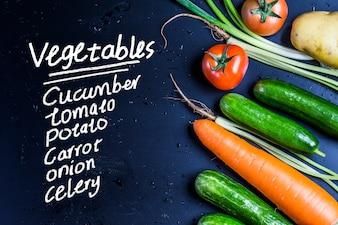 Black background vegetables