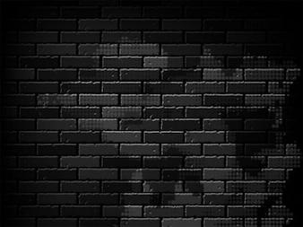 Black brick wall on dark background