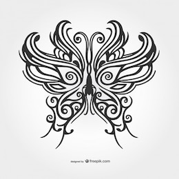 Black butterfly tattoo vector