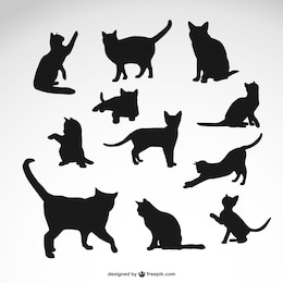 Black cat silhouettes set