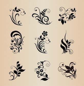 Black floral shapes vector pack