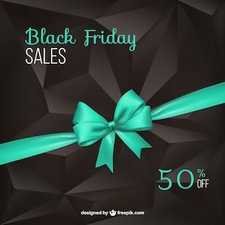 Black Friday background with turquoise ribbon
