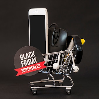Black friday concept with smartphone and mouse