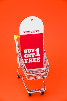 Black friday decoration with banner in cart