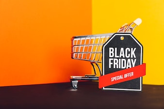 Black friday sales composition with cart