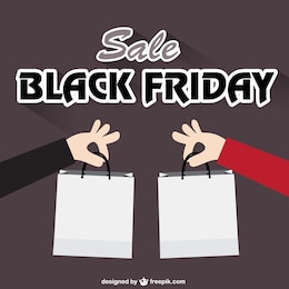 Black Friday vector with shopping bags