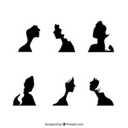Black girl face silhouettes