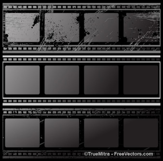 Black grunge film strips