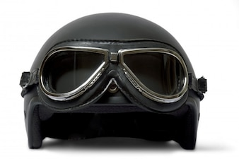 Black helmet with glasses