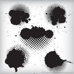 Black ink splashes background