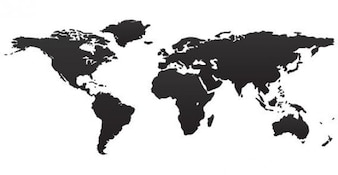 Black Map of World