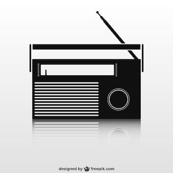 Black retro radio set