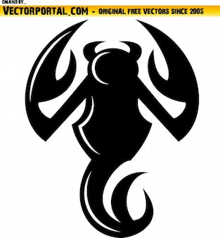 Black scorpion illustration with devil tail
