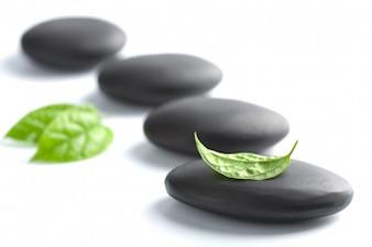 Черные камни на белом черном фоне