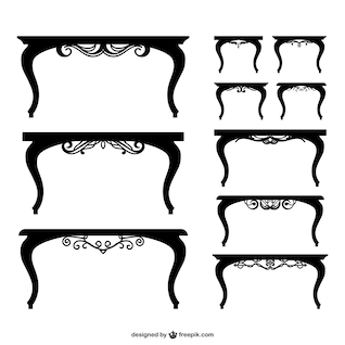 Black tables silhouettes