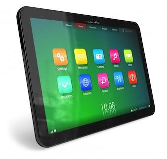 Black tablet on white background