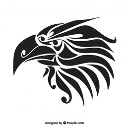 Black tribal eagle vector tattoo