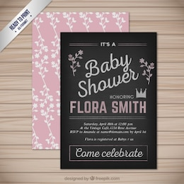 Blackboard baby shower card
