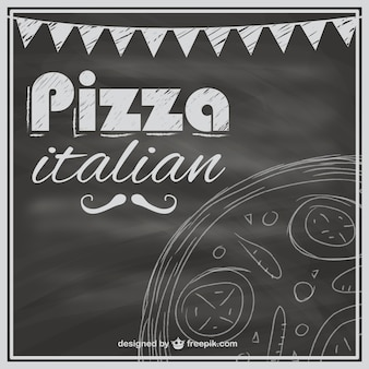 Blackboard pizza menu template