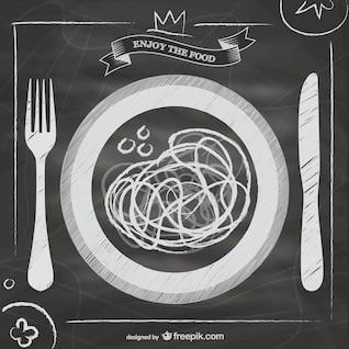 Blackboard vector Italian food menu