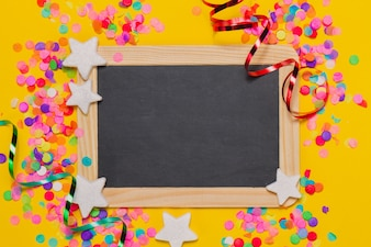 Blackboard with party decoration