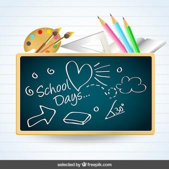 Blackboard with school supplies on paper