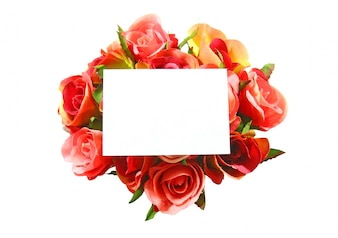 Blank card and rose isolated on white background
