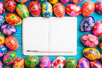 Blank notebook surrounded by easter eggs