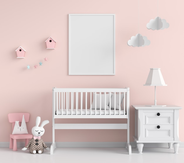 Blank photo frame in child room