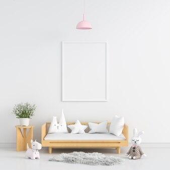 Blank photo frame  in white child room