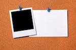 Blank polaroid photo with card