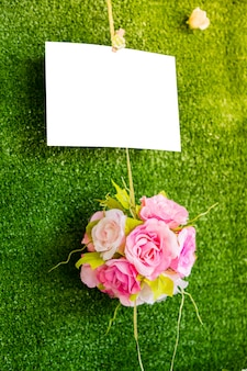Blank sign with bouquet