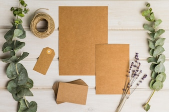 Blank stationery set of cardboard