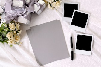 Blank wedding papers with photos