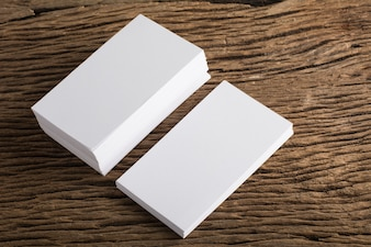 Blank white Business card presentation of Corporate identity on wood background