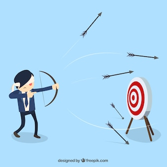 Blindfold businessman shooting arrows