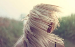 Blonde hair in the breeze
