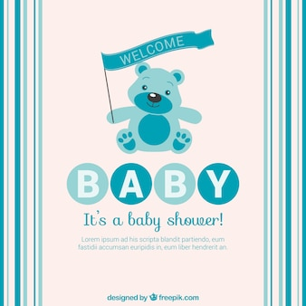 Blue baby shower card with teddy bear