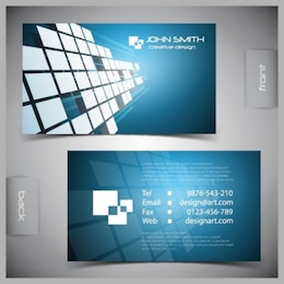 Blue business card vector pack